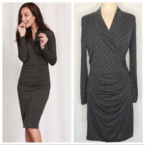 Boden Ruched Faux Wrap Gray Black Dots Dress